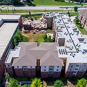 Demolition of Knickerbocker Apartments in Kansas City Missouri, July 2020.