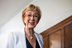 © Licensed to London News Pictures. 11/06/2019. London, UK. Former Leader of the House of Commons Andrea Leadsom, who is running to be Leader of the Conservative Party and the next Prime Minister, arrives at the official launch event for her campaign. Photo credit: Rob Pinney/LNP