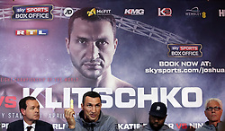 Wladimir Klitschko holds a USB stick which has his prediction of the outcome of the fight against Anthony Joshua recorded on it during a press conference at Sky Sports Studios, Isleworth.