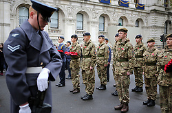 Participants take part in the Western Front Association's annual service of remembrance at the Cenotaph, Whitehall, London.
