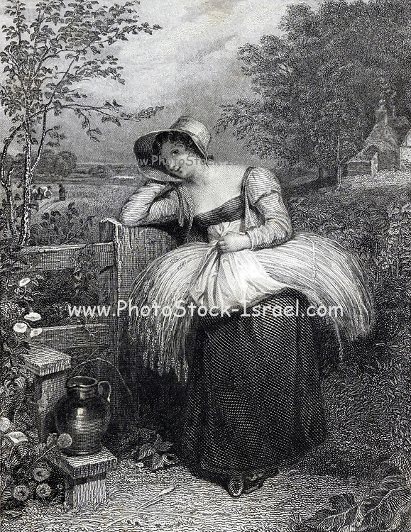 Country Girl illustrating the story ' On Love ' from The Keepsake of 1829. The Keepsake was an English literary annual which ran from 1828 to 1857, published each Christmas from 1827 to 1856, for perusal during the year of the title. Like other literary annuals, The Keepsake was an anthology of short fiction, poetry, essays, and engraved illustrations. It was a gift book designed to appeal to young women, and was distinctive for its binding of scarlet dress silk and the quality of its illustrations. Although the literature in The Keepsake and other annuals is often regarded as second-rate, many of the contributors to The Keepsake are canonical authors of the Romantic period.