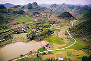 Mountainous landscape as seen from Lung Cu flag tower, Dong Van District, Ha Giang Province, Vietnam, Southeast Asia