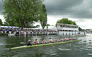Henley on Thames, United kingdom, Remenham Cup, Women's eights racing through the Steward Enclosure and Floating Grandstand to the finish line,  Annual 2002 Henley Royal Regatta, Henley Reach, River Thames, England, [Mandatory Credit: Peter Spurrier/Intersport Images] 20020703 Henley Royal Regatta, Henley, Great Britain