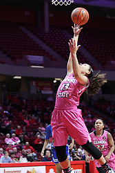 NORMAL, IL - February 10: Katrina Beck during a college women's basketball Play4Kay game between the ISU Redbirds and the Indiana State Sycamores on February 10 2019 at Redbird Arena in Normal, IL. (Photo by Alan Look)