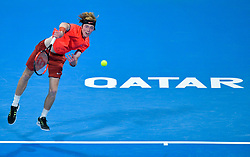 Andrey Rublev of Russia serves to Andreas Seppi of Italy during their first round of ATP Qatar Open Tennis match at the Khalifa International Te?nnis Complex in Doha, capital of Qatar, on December 31, 2018. Andrey Rublev won 2-0  (Credit Image: © Yangyuanyong/Xinhua via ZUMA Wire)