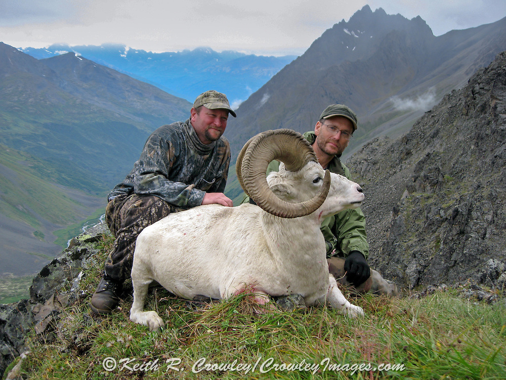 Keith Crowley (r) and Dave Crowley with Keith's Dall ram in an Alaskan Valley.
