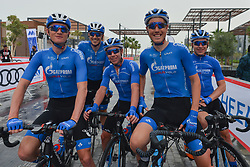 March 1, 2019 - Ajman, United Arab Emirates - Members of the Russian Team, Gazprom-RusVelo, seen at the start line of the sixth Rak Properties Stage of UAE Tour 2019, a 180km with a start from Ajman and finish in Jebel Jais. .On Friday, March 1, 2019, in Ajman, Ajman Emirate, United Arab Emirates. (Credit Image: © Artur Widak/NurPhoto via ZUMA Press)