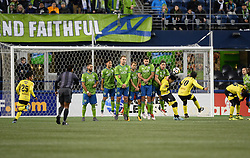 March 1, 2018 - Seattle, Washington, U.S - Soccer 2018: Santa Tecla's Captain GERSON MAYEN (10) takes a free kick as Santa Tecla FC visits the Seattle Sounders for a CONCACAF match at Century Link Field in Seattle, WA. Seattle won the match 4-0. (Credit Image: © Jeff Halstead via ZUMA Wire)
