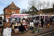 Street market, Market Hill, Woodbridge, Suffolk