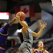 HARTFORD, CONNECTICUT- JANUARY 4: Gabby Williams #15 of the Connecticut Huskies has her shot blocked by Gabrielle Holston #40 of the East Carolina Lady Pirates during the UConn Huskies Vs East Carolina Pirates, NCAA Women's Basketball game on January 4th, 2017 at the XL Center, Hartford, Connecticut. (Photo by Tim Clayton/Corbis via Getty Images)