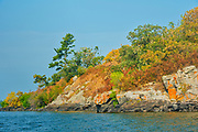 Orange lichens on rock on Island in Lake of the Woods<br />