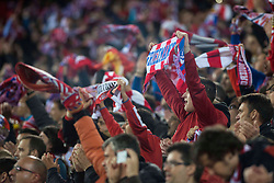 13.04.2016, Estadio Vicente Calderon, Madrid, ESP, UEFA CL, Atletico Madrid vs FC Barcelona, Viertelfinale, Rueckspiel, im Bild Atletico de Madrid's supporters // during the UEFA Champions League Quaterfinal, 2nd Leg match between Atletico Madrid and FC Barcelona at the Estadio Vicente Calderon in Madrid, Spain on 2016/04/13. EXPA Pictures © 2016, PhotoCredit: EXPA/ Alterphotos/ BorjaB.Hojas<br /> <br /> *****ATTENTION - OUT of ESP, SUI*****