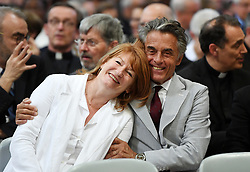 Muriel Mayette and her husband Gerard Holtz smile as France's President Emmanuel Macron is inducted as honorary canon of The Basilica of St.John's in Rome,Italy the Pope's cathedral in his capacity as bishop of the Italian capital on June 26, 2018. Emmnanuel Macron is accompanied by his wife Brigitte. The french head of state has traditionally been given the title since French kings made large donations to support the cathedral in the 15th century. Photo by Eric Vandeville/ABACAPRESS.COM