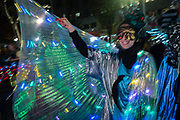 New York, NY - 31 October 2019. the annual Greenwich Village Halloween Parade along Manhattan's 6th Avenue.A performer with sparkly gossamer wings
