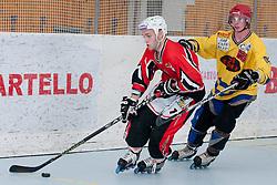 Domen Vedlin of HK Prevoje vs Ziga Jeglic of Troha Pub Bled at final match of IZS Masters 2011 inline hockey between Troha Pub Bled and HK Prevoje, on June 4, 2011 in Sportni park, Horjul, Slovenia. (Photo by Matic Klansek Velej / Sportida)