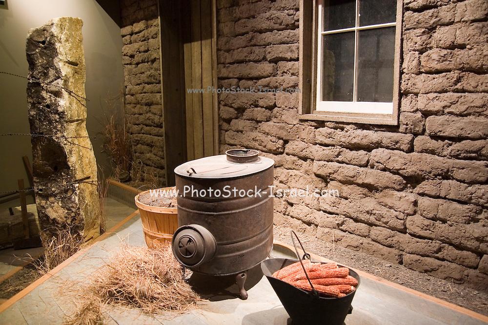 Topeka, Kansas KS, USA, Kansas museum of History. A typical pioneer home in Kansas