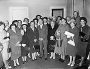25/02/1961<br /> 02/25/1961<br /> 25 February 1961<br /> I.C.A. (Irish Countrywomen's Association) group from Carraroe, Co. Galway, on tour of Dublin visit the Gael Linn offices, Dublin.