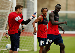 Frank Fielding of Bristol City reacts after Famara Diedhiou scores the winning goal in training - Mandatory by-line: Matt McNulty/JMP - 20/07/2017 - FOOTBALL - Tenerife Top Training Centre - Costa Adeje, Tenerife - Pre-Season Training