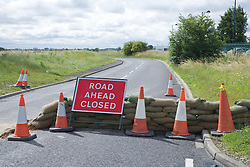 Closed road following the floods at Toll Bar; South Yorkshire; July 2007,