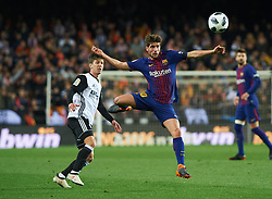 February 8, 2018 - Valencia, Valencia, Spain - Luciano Vietto of Valencia CF and Sergi Roberto of FC Barcelona during the spanish Copa del Rey semi-final, second leg match between Valencia CF and FC Barcelona at Mestalla Stadium, on February 8, 2018 in Valencia, Spain  (Credit Image: © Maria Jose Segovia/NurPhoto via ZUMA Press)
