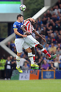 Gareth Barry of Everton (l) challenges for the ball with Gianelli Imbula of Stoke City.  Premier league match, Everton v Stoke city at Goodison Park in Liverpool, Merseyside on Saturday 27th August 2016.<br /> pic by Chris Stading, Andrew Orchard sports photography.