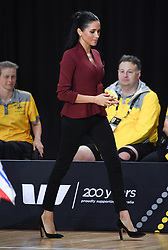 Prince Harry Duke of Sussex and Meghan Duchess of Sussex attend the Wheelchair Basket Finals and present the USA Team with their Gold Medals, Quay Centre, Olympic Park, Sydney. Photo credit should read: Doug Peters/EMPICS