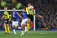 Joss Labadie of Dagenham & Redbridge shields the ball from Steven Pienaar of Everton. The Emirates FA cup, 3rd round match, Everton v Dagenham & Redbridge at Goodison Park in Liverpool on Saturday 9th January 2016.<br /> pic by Chris Stading, Andrew Orchard sports photography.