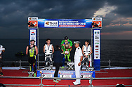 PATTAYA, THAILAND - DECEMBER 09: Mark Gomez of USA and Rickter receiving the King's Cup during the Royal Trophy presentation for the Pro Freestyle second run at the Thai Airways International Jet Ski World Cup 2018, Jomtien Beach, Pattaya, Thailand on December 09, 2018. <br /> .<br /> .<br /> .<br /> (Photo by: Naratip Golf Srisupab/SEALs Sports Images)<br /> .<br /> Any image use must include a mandatory credit line adjacent to the content which should read: Naratip Golf Srisupab/SEALs Sports Images