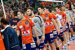 Players after the volleyball match between ACH Volley LJUBLJANA and Budvanska Rivijera BUDVA.of 2012 CEV Volleyball Champions League, Men, League Round in Pool F, 2nd Leg, on October 26, 2011, in Arena Stozice, Ljubljana, Slovenia.  ACH Volley defeated Budvanska Rivijera 3-2. (Photo by Vid Ponikvar / Sportida)