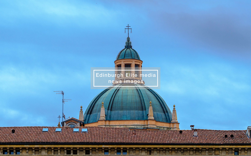 The roof of the Palazzo dei Banchi seen above buildings in the Piazza Maggiore, Bologna, Italy<br /> <br /> (c) Andrew Wilson | Edinburgh Elite media