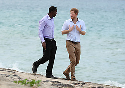 Prince Harry walks with Lemuel Pemberton from the Nevis Turtle Group on Lover's Beach on the island of Nevis during the second leg of his Caribbean tour, as he is shown turtle nesting sites and learns about the conservation efforts to protect the endangered species.