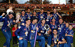 Gloucestershire celebrate winning The Royal London One Day Cup Trophy - Mandatory byline: Robbie Stephenson/JMP - 07966 386802 - 19/09/2015 - Cricket - Lord's Cricket Ground - London, England - Gloucestershire CCC v Surrey CCC - Royal London One-Day Cup Final