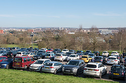 © Licensed to London News Pictures; 22/03/2020; Bristol, UK. Coronavirus Pandemic; a full car park as people enjoy a walk in the open air at Ashton Court estate park on a sunny weekend, after the UK's prime minister ordered the closure of all pubs, bars, cafes, restaurants and indoor gyms to try and prevent the spread of the coronavirus. The UK Government is urging people to maintain social distance but also to get fresh air and exercise outside with social distance between people. Photo credit: Simon Chapman/LNP.