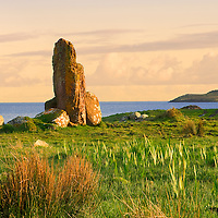 Standing Stones Panorama (Menhir) at Ballinskelligs overlooking Ballinskelligs Bay with View on Waterville, County Kerry, Ireland / bs032_2