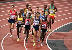 Kenya's Conseslus Kipruto and France's Mahiedine Mekhissi and Kenya's Jairus Kipchoge Birech lead during the Men's 3000m Steeplechase final during day five of the 2017 IAAF World Championships at the London Stadium.