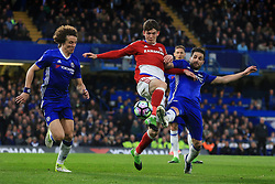 8 May 2017 - Premier League - Chelsea v Middlesbrough - Marten de Roon of Middlesbrough in action with Cesc Fabregas and David Luiz of Chelsea - Photo: Marc Atkins / Offside.
