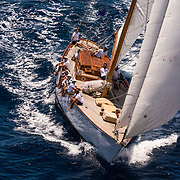 The Blue Peter. 1930 65ft Classic yacht. From the deck of The Blue Peter was taken using a slow shutter to get the feeling of moving at sea. classic yacht pictures, classic sailing prints , pictures, action sailboat images, sailing prints, yacht prints, yachting prints , sailing yacht pictures for sale UK, yachet prints; yahct pictures; yaaht prints, boat picture for sail; classic sailing boats; classic yachting boat pics for saleSailing area: Western Mediterranean French Riviera, Italian Riviera, Balearic Islands, Corsica, Sardinia