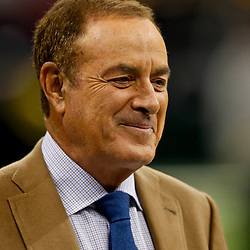 October 7, 2012; New Orleans, LA, USA; NBC Sunday Night Football announcer Al Michaels prior to kickoff of a game between the New Orleans Saints and the San Diego Chargers at the Mercedes-Benz Superdome. Mandatory Credit: Derick E. Hingle-US PRESSWIRE