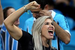 Torcedora gremista vibra com a vitória do Grêmio sobre o Independente Santa Fé, da Colômbia durante partida da Libertadores da América, na Arena do GrêmioFOTO: Jefferson Bernardes/Preview.com