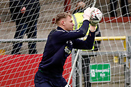 Wimbledon goalkeeper Aaron Ramsdale, on loan from Bournemouth, warming up  during the The FA Cup 3rd round match between Fleetwood Town and AFC Wimbledon at the Highbury Stadium, Fleetwood, England on 5 January 2019.