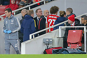 Arsenal defender David Luiz (23) goes down the tunnel following an injury during the Europa League match between Arsenal and Eintracht Frankfurt at the Emirates Stadium, London, England on 28 November 2019.