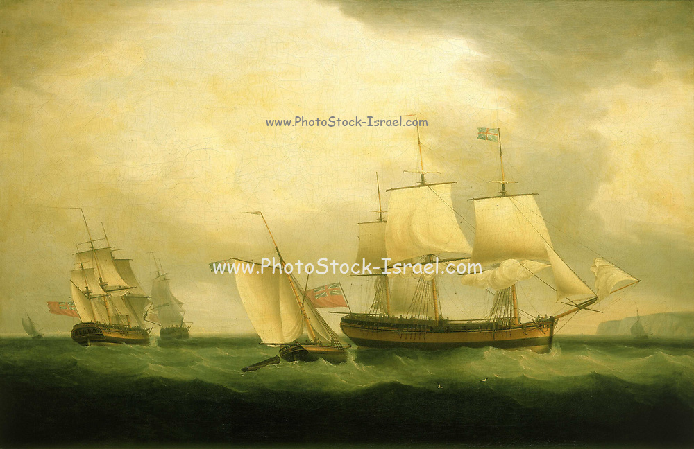 The cutter Mary Ann and HMS Sylph. The ship was a sloop that was launched in September 1795. The painting probably commemorates the commissioning of the 'Sylph'. She is shown in the Downs in broadside view, flying the red ensign. This may be a ship's portrait with the ship shown in stern and bow view on the left. Part of Nelson's navy by 1805 she was serving on the Guernsey Station, and was probably involved in making raids on the French coastline to disrupt the preparations to invade England. The painting is signed and dated 1795. By Thomas Whitcombe (possibly 19 May 1763 – c. 1824) was a prominent British maritime painter of the Napoleonic Wars. Among his work are over 150 actions of the Royal Navy, and he exhibited at the Royal Academy, the British Institution and the Royal Society of British Artists. His pictures are highly sought after today.