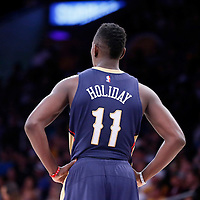07 December 2014: New Orleans Pelicans guard Jrue Holiday (11) rests during the New Orleans Pelicans 104-87 victory over the Los Angeles Lakers, at the Staples Center, Los Angeles, California, USA.
