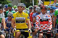 CYCLING - TOUR DE FRANCE 2011 - STAGE 5 - Carhaix > Cap Frehel (164,5 km) - 06/07/2011 - PHOTO : JULIEN CROSNIER / DPPI - THOR HUSHOVD (NOR) / TEAM GARMIN - CERVELO - CADEL EVANS (AUS) / BMC RACING TEAM