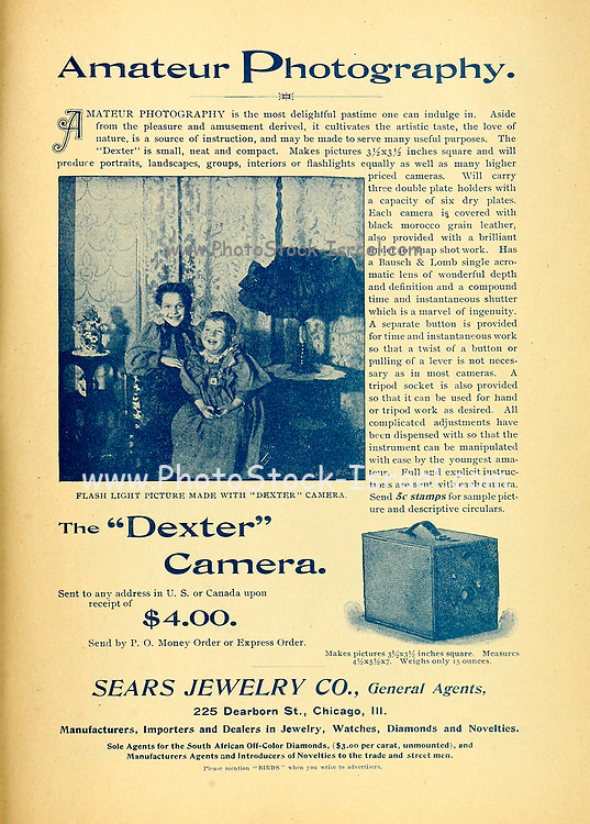 Amateur Photography Dexter Camera ad Appeared in a monthly magazine called 'Birds : illustrated by color photography' a monthly serial. Knowledge of Bird-life in 1897.