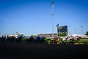 Medina Spirit led the entire race leading as he passed the first turn.<br /> <br /> (Photo by William DeShazer)