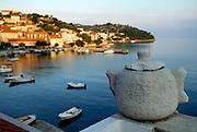 View of harbour at dawn, Racisce, island of Korcula, Croatia