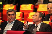CYCLING - PRESENTATION TOUR DE FRANCE 2013 - PARIS (FRA) - 24/10/2011 - PHOTO JULIEN BIEHLER / DPPI - Eddy Merckx and Bernard Hinault - The 100th edition - Centenaire