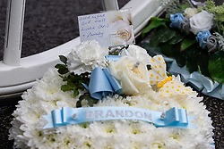 © Licensed to London News Pictures . 14/09/2018. Salford, UK. Flowers and tributes . The funerals of Demi Pearson , Brandon Pearson , Lacie Pearson and Lia Pearson , at St Paul's Church in Walkden . Demi , Brandon , Lacie and Lia were aged 15 , eight , seven and three respectively when their home was set on fire as they slept . Zak Bolland and David Worrall were handed four life sentences for their murders . Photo credit: Joel Goodman/LNP