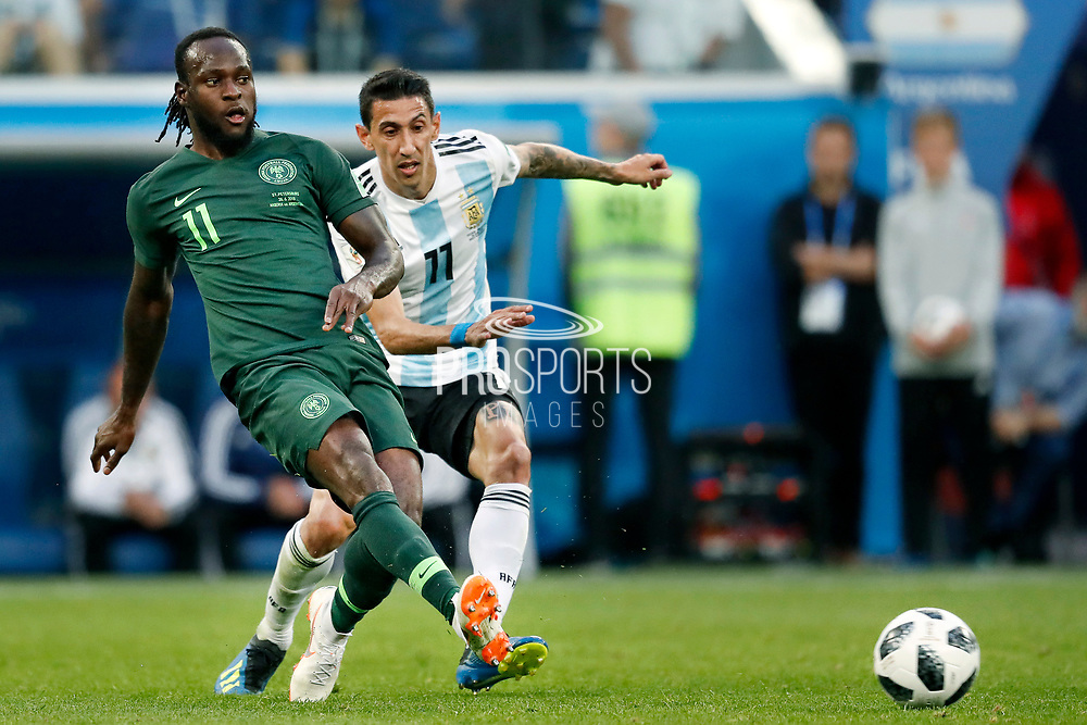 Nigeria forwarder Victor Moses (L) and Argentina midfielder Angel Di Maria (R) during the 2018 FIFA World Cup Russia, Group D football match between Nigeria and Argentina on June 26, 2018 at Saint Petersburg Stadium in Saint Petersburg, Russia - Photo Stanley Gontha / Pro Shots / ProSportsImages / DPPI